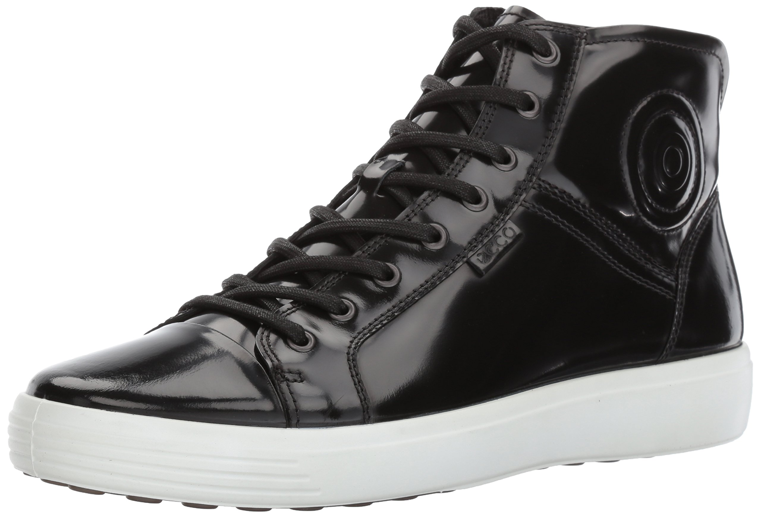 ECCO Men's Soft 7 Premium Boot Fashion Sneaker, Black Patent, 41 M EU / 7-7.5 D(M) US