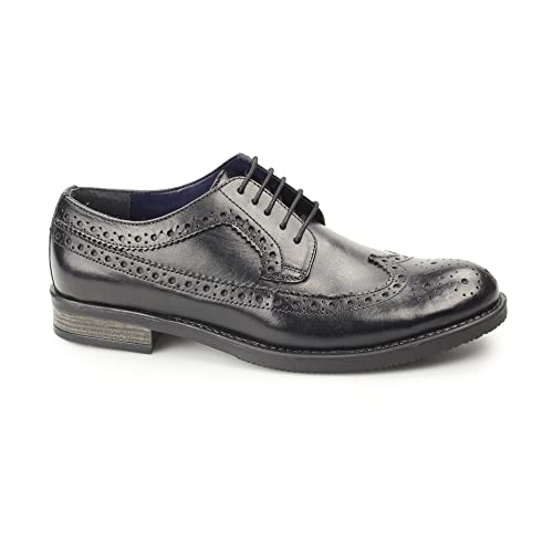 15c41ad85ac61 Silver Street London Downing Mens Leather Longwing Derby Brogues Black UK 8