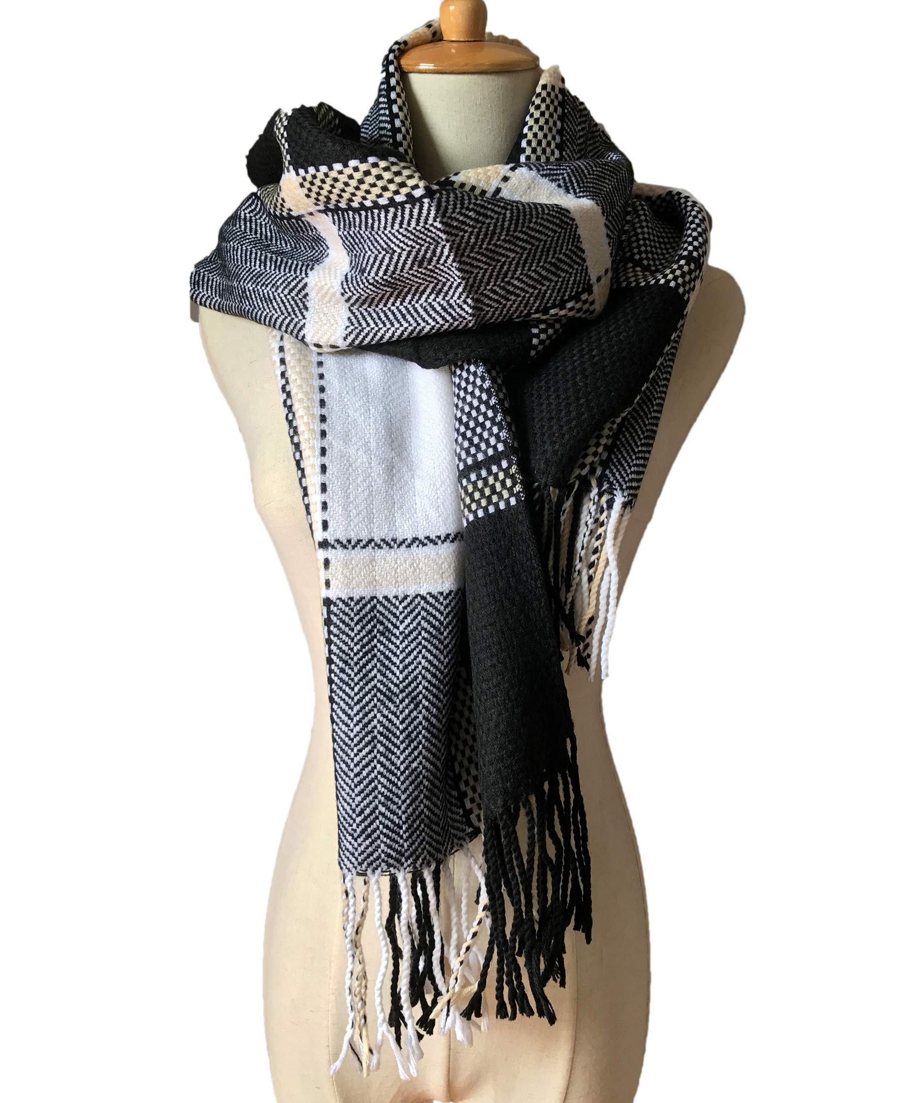 Yige Women's Fashion Long Shawl Big Grid Winter Warm Lattice Large Scarf | plaid shawl Black