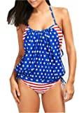 ZDUND Men's Womens Patriotic USA American Flag Bathing Suit Swimsuits