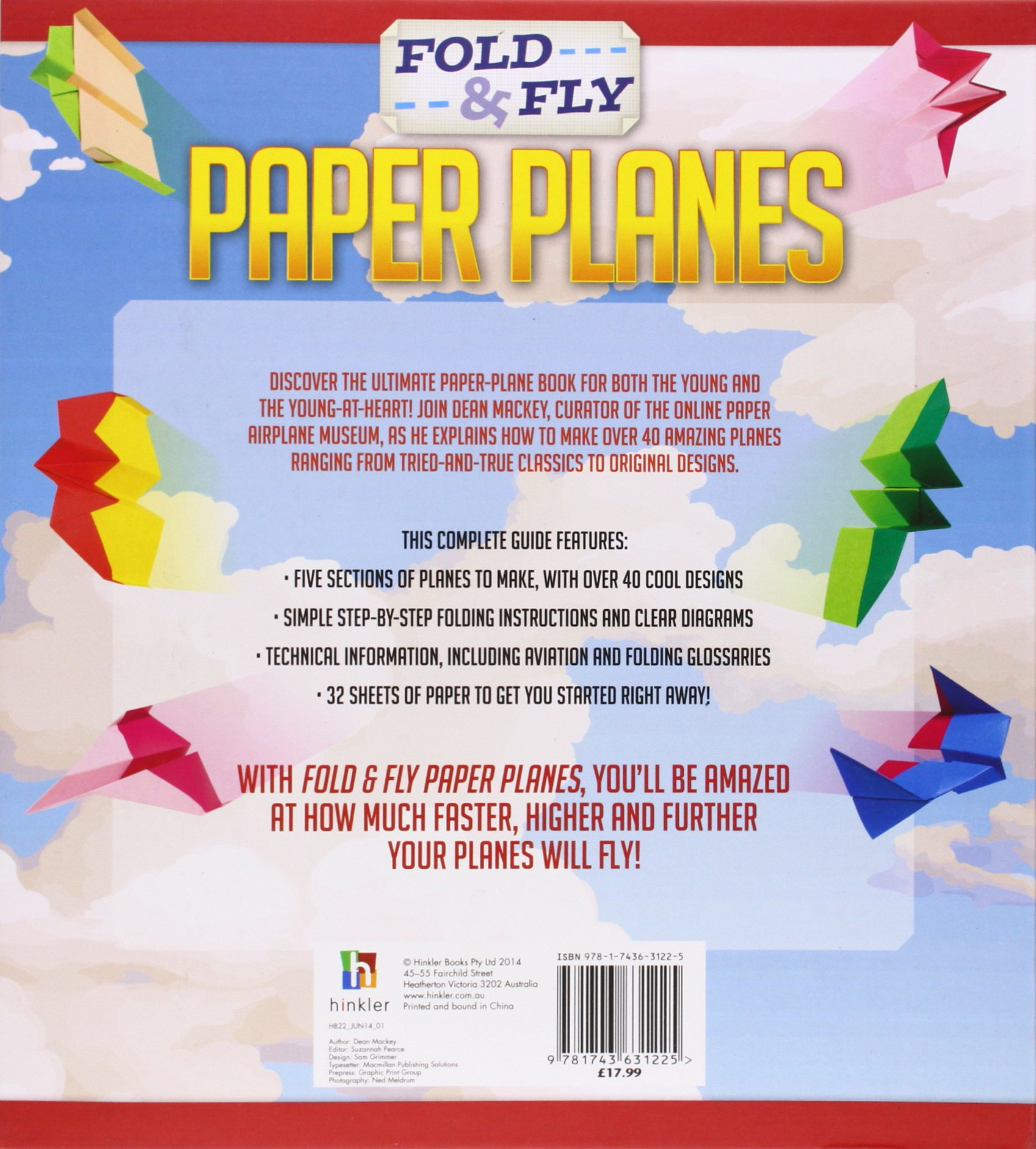 Fold And Fly Paper Planes Hinkler 9781743631225 Books Airplane Diagrams