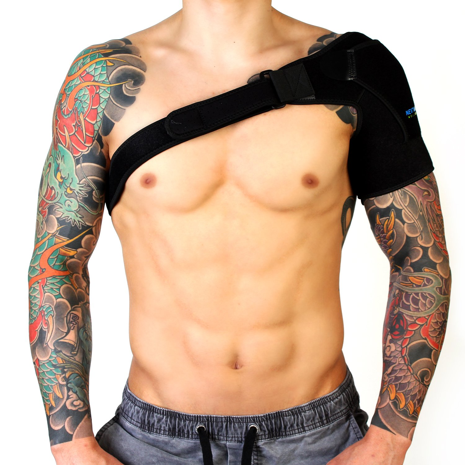 Shoulder Brace for Men & Women by NextWave Wellness | Compression Pad Sleeve for Right or Left Upper Arm & Shoulder Support | Neoprene Sling Wrap for Rotator Injuries & Joint Pain | Adjustable Straps by Nextwave Wellness