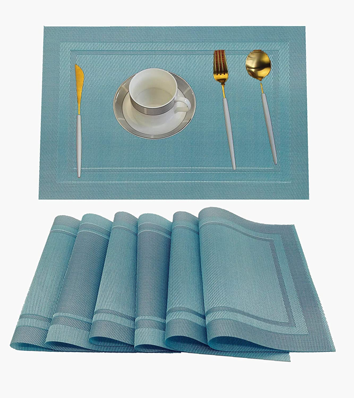 WANGCHAO Placemat, Placemats Heat-Resistant Placemat Stain Resistant Anti-Skid Washable PVC Table Mats Woven Vinyl Placemat (sea Blue, Set of 8)