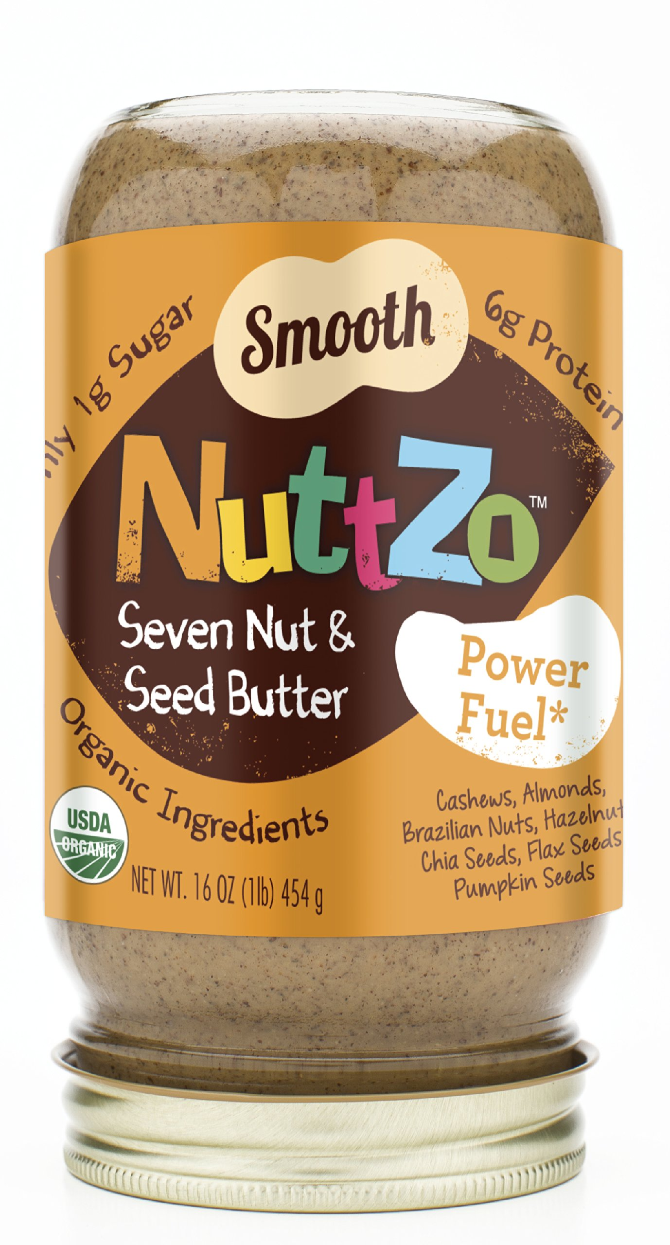 Nuttzo Organic 7 Nut and Seed Butter, Smooth, 16 Ounce (Pack of 6)