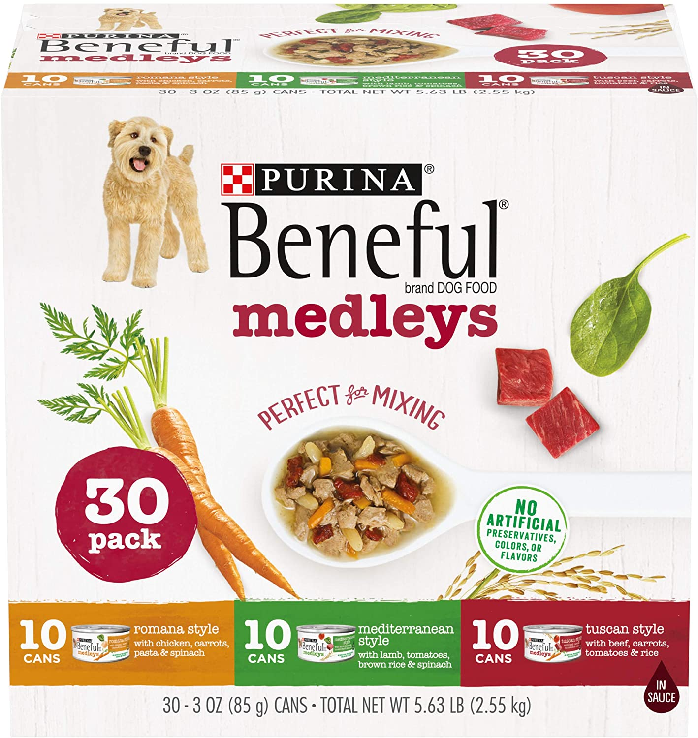 Purina Beneful Wet Dog Food Variety Pack, Medleys Tuscan, Romana & Mediterranean Style - (30) 3 oz. Cans
