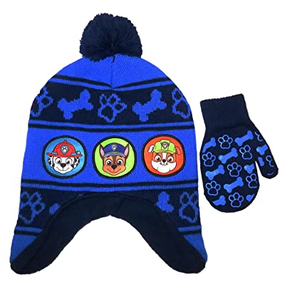 energi8_dir Nickelodeon Toddler Paw Patrol Hat and Matching Glove Mitten Set Chase Marshall