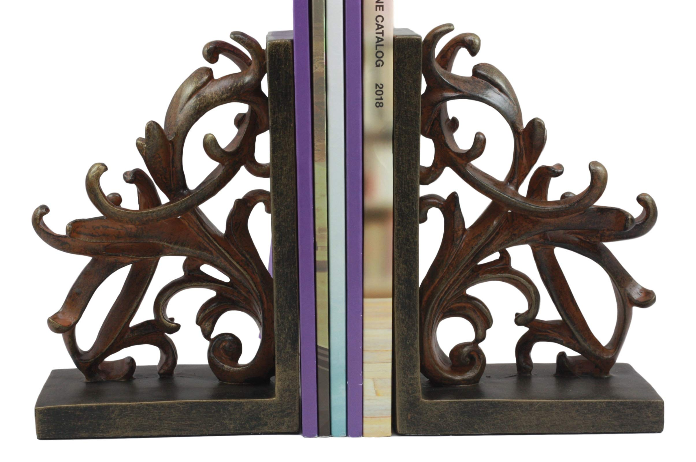 Ebros Vintage Design Ornate Scroll Bookends Set Scroll Art Statue Pair 7.5'' Tall Scrollwork Graphic Bookend Figurines Home Office Library Decor by Ebros Gift