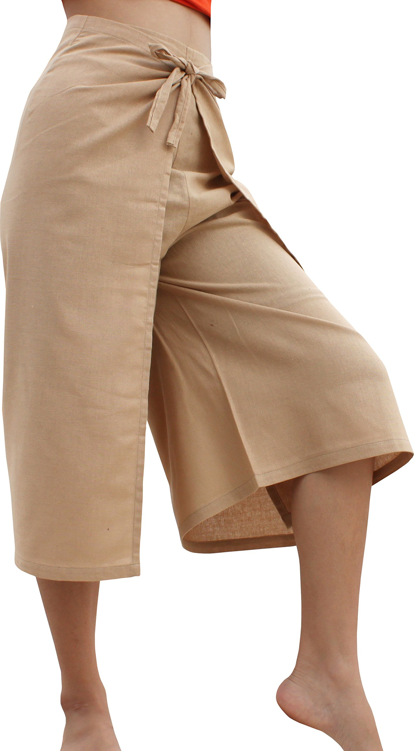 RaanPahMuang Drive In Wrap Pants In Summer Plain Mixed Cotton, Medium, Muang Bangkok Cotton - Tan Brown by RaanPahMuang