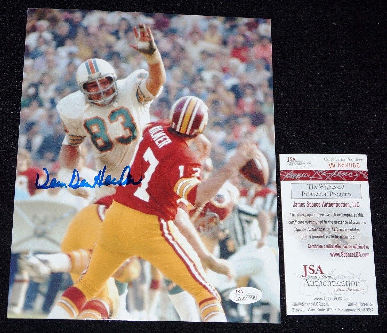 Signed Vern Den Herder Photograph - #83 1972 17 0 8x10 + COA W659066 - JSA Certified - Autographed NFL Photos Sports Memorabilia