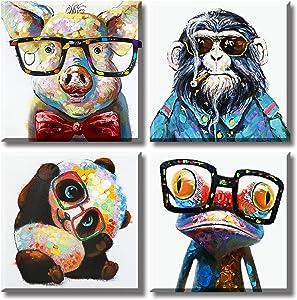 Colorful Cartoon Animal Wall Art Canvas Print Funny Cute Panda Frog Pig Orangutan Pictures for Kids Bedroom Nursery Decor Artwork Framed 12''X12''X4