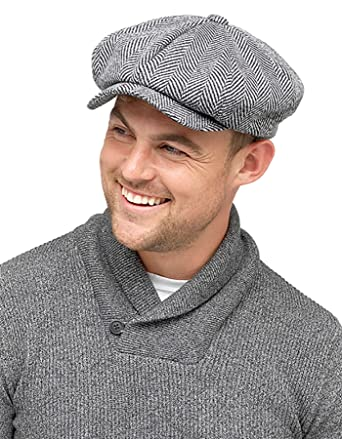 Mens Baker Boy Wool Blend Flat Cap With Thinsulate Lining Herringbone Grey  GL606  Amazon.co.uk  Clothing 8da1c42bfa7