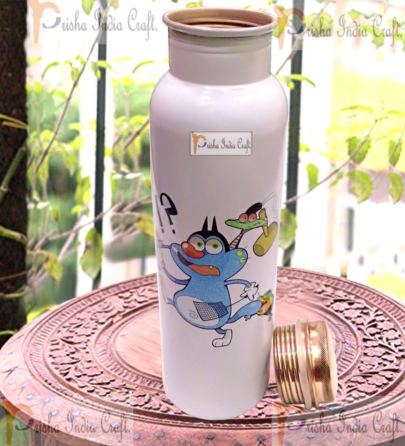 Prisha India Craft Digital Printed Pure Copper Water Bottle Kids School Water Bottle - Oggy Design, 1000 ML