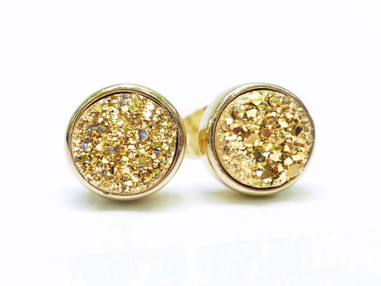 e1b3c12e1 Amazon.com: Gold Druzy Stud Earrings 8mm For Women, Sparkling Quartz Agate,  Genuine Crystal Gemstones: Handmade