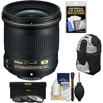 Nikon 24 mm f/1.8G AF-S ED Nikkor Lente con 3 filtros + Mochila + ...