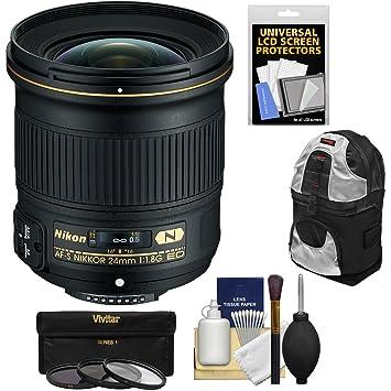 【クリックでお店のこの商品のページへ】Nikon 24?mm f / 1.8g af-s Ed Nikkorレンズwith 3フィルタ+バックパック+キットfor d3200、d3300、d5300, d5500、d7100、d7200、d610、d750、d810、d4s DSLRカメラ