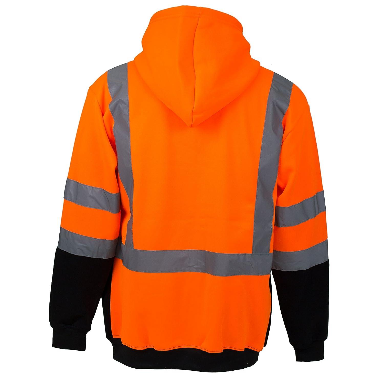 New York Hi-Viz Workwear H9011 Mens ANSI Class 3 High Visibility Class 3 Sweatshirt, Full Zip Hooded, Lightweight, Black Bottom (Large) - - Amazon.com