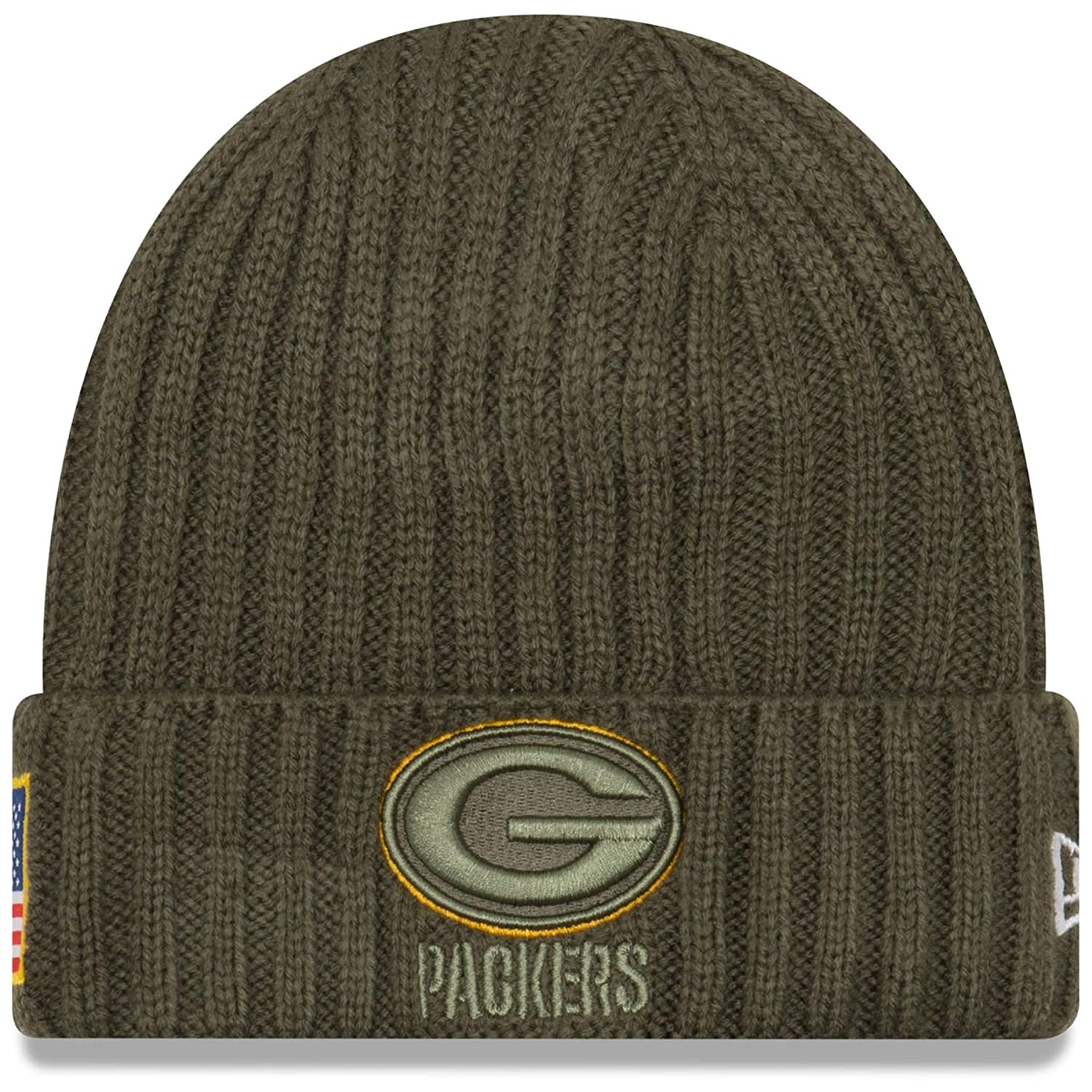 216415a274a New Era Men s Men s Packers 2017 Salute to Service Cuffed Knit Hat Olive  Size One Size at Amazon Men s Clothing store