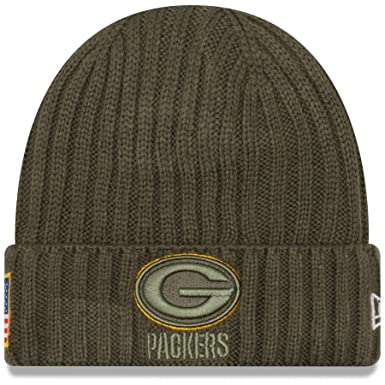 New Era Men s Men s Packers 2017 Salute to Service Cuffed Knit Hat Olive  Size ... 8e6d1bf7377