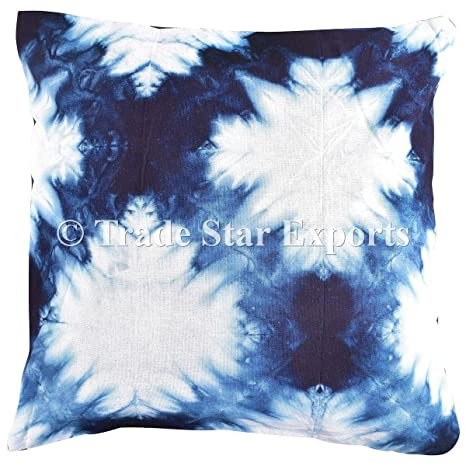 Amazon Com Tie Dye Pillow Cover 16x16 Indigo Outdoor Cushion