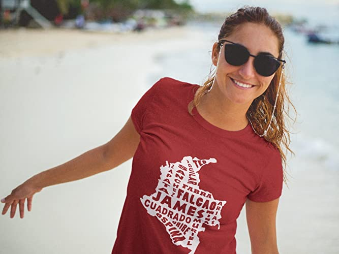 Woman Colombia Map players World cup Russia 2018 soccer t shirt jersey camiseta