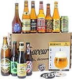 HOPT - Colección de cervezas rubias - Paquete de 11 cervezas (25 a 50 cl) y 1 vaso de 25 cl - El regalo ideal