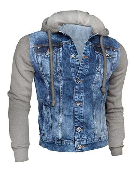 D&R Fashion Mens Denim Jacket with Hood Sweatshirt Fleece Sleeves ...