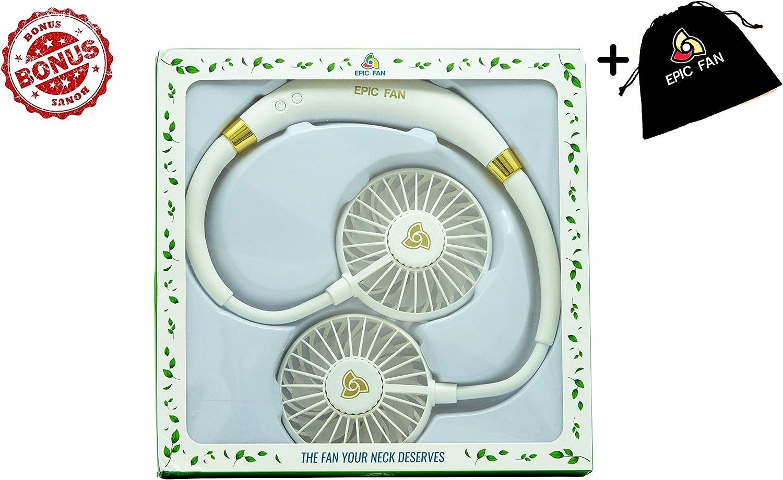 Epic Fan Portable Fan, Hands Free Personal Fan, Neck Fan with Aromatherapy LED Light 3 Wind Speeds, Lithium Battery Operated Fan, Rechargeable Micro USB Fan, 4-12h of Use – Bundled White –