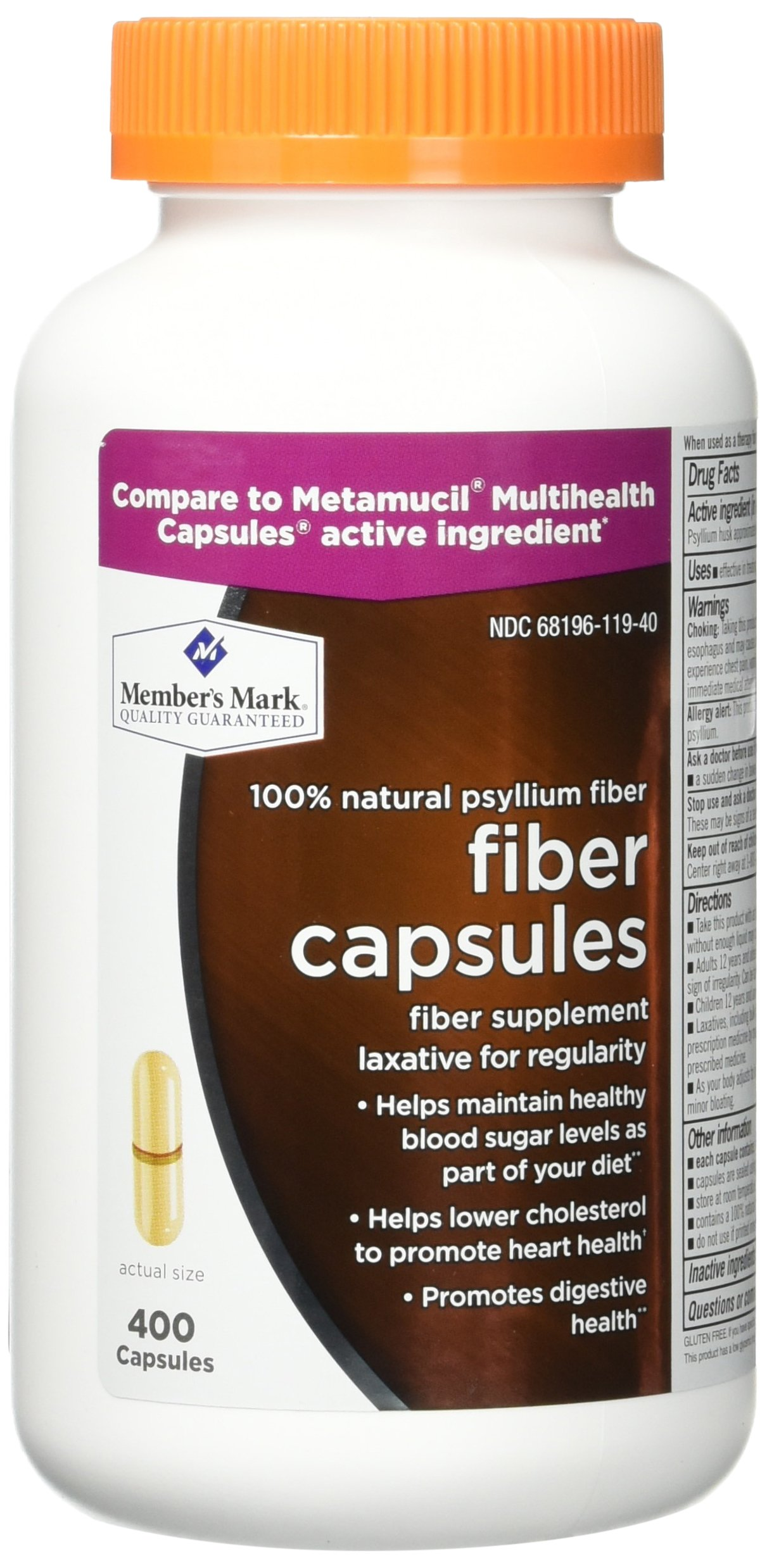 800 Count Fiber Capsules Member's Mark Therapy for Regularity/Fiber Supplement - Compare to the Active Ingredient in Metamucil Capsules