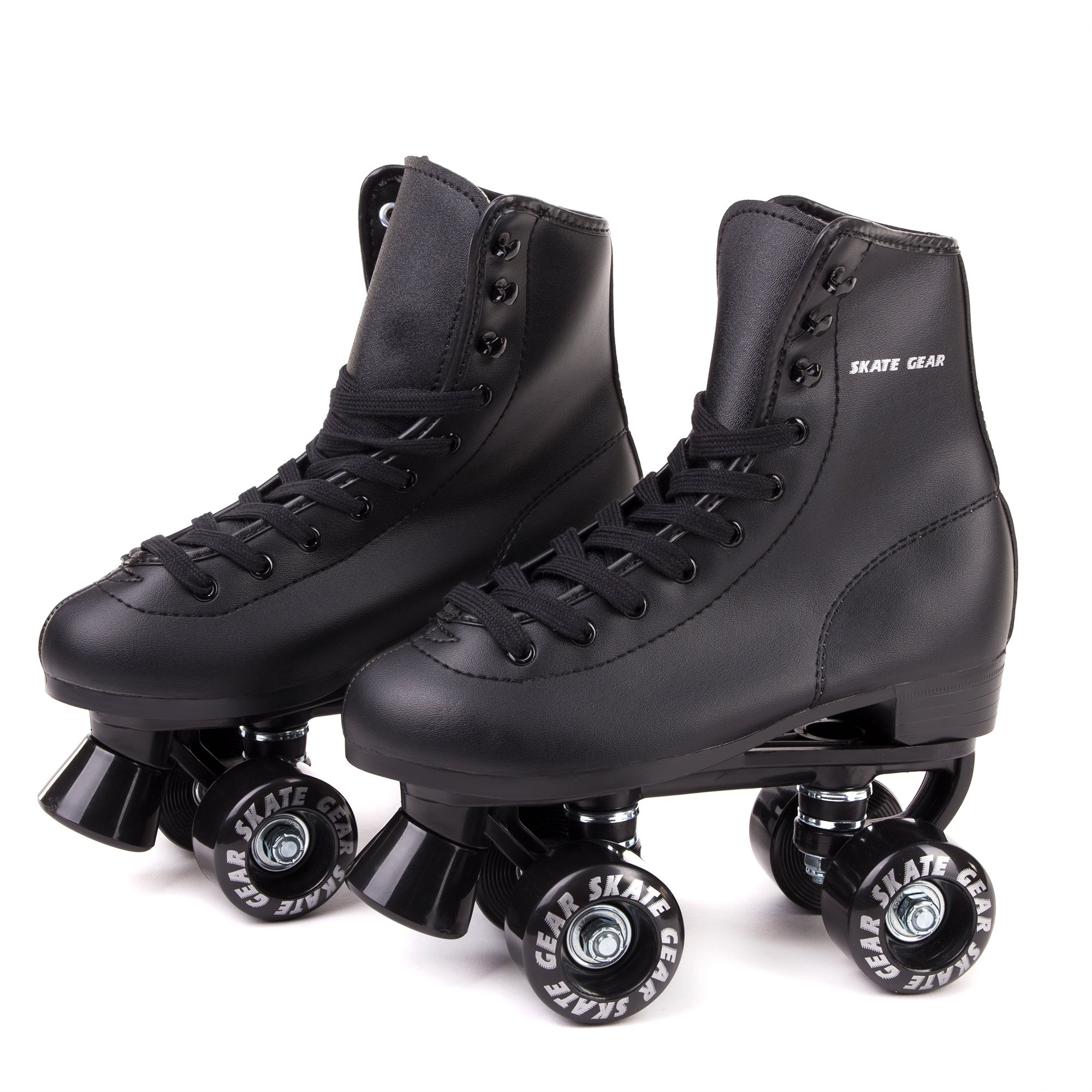 Skate Gear Soft Boot Roller Skate, Retro Fashion High Top Design in Faux Leather for Indoor & Outdoor (Classic Black, Men's 7/Women's 8)