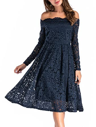07d9682b716 Image Unavailable. Image not available for. Color  Abby Mavis Women s Retro  Floral Lace Dress Long Sleeve ...