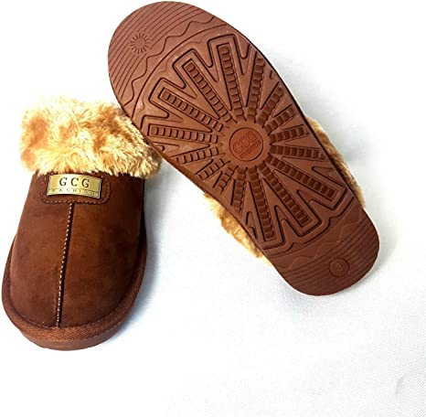 Geniune GCG Señoras Zapatillas de piel sintética de oveja Mulas Suela Antideslizante duro para mujer gris