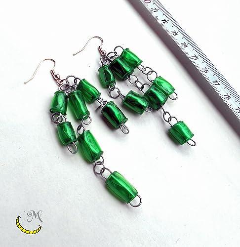 pendientes de perlas de plastico reciclado hechas a mano