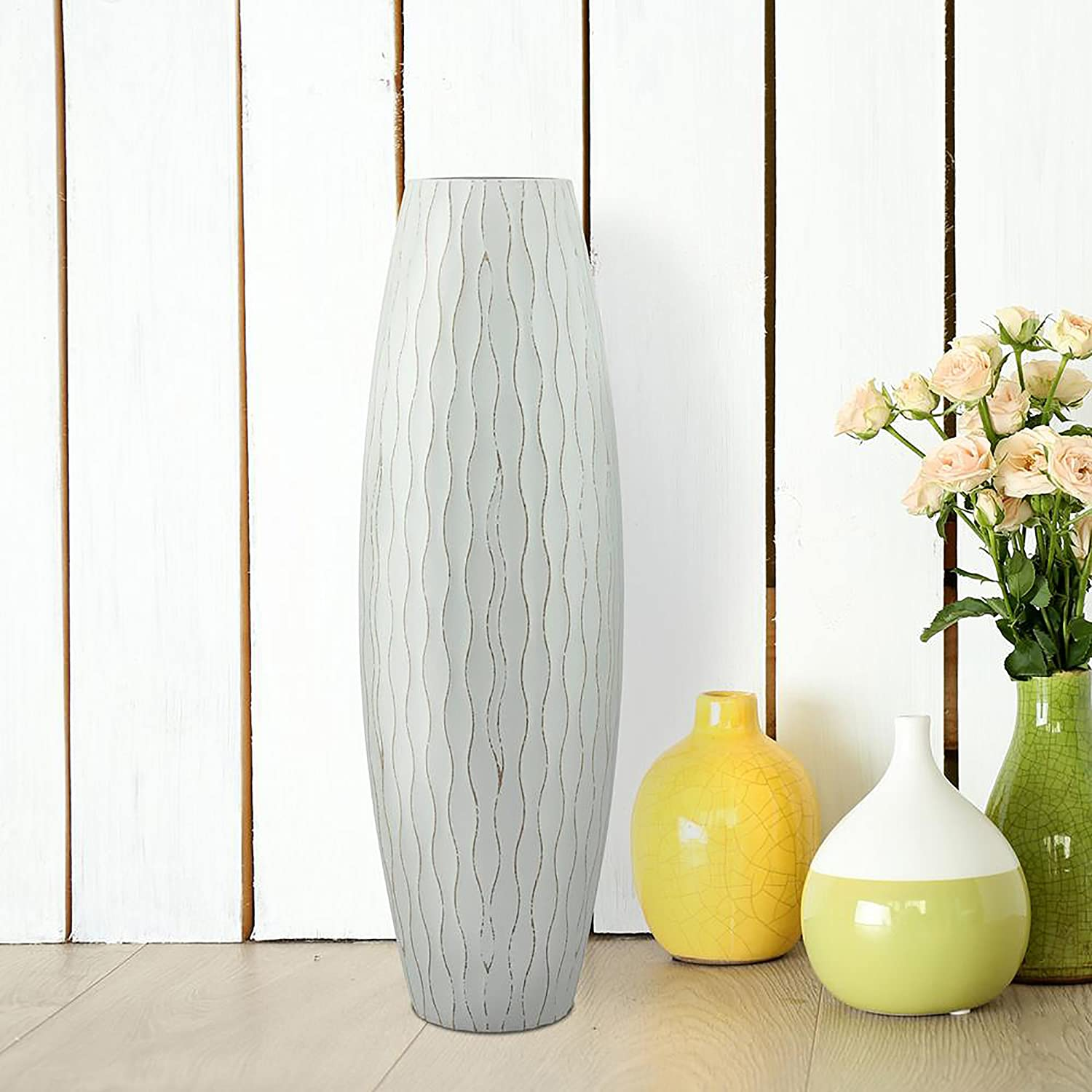 Large weathered pale ocean wood vase
