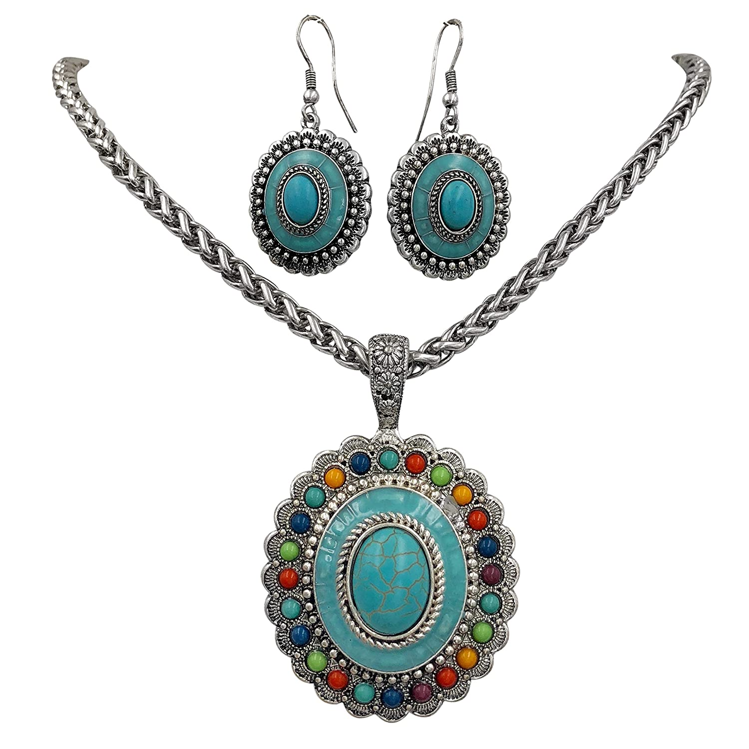 Gypsy Jewels Multi Color Simple Pendant Silver Tone Imitation Turquoise Boutique Style Statement Necklace /& Dangle Earring Set