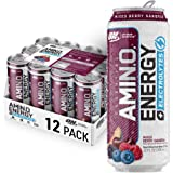 OPTIMUM NUTRITION ESSENTIAL AMINO ENERGY Plus Electrolytes Sparkling Hydration Drink, Mix Berry Sangria, Keto Friendly BCAAs, 12 Count