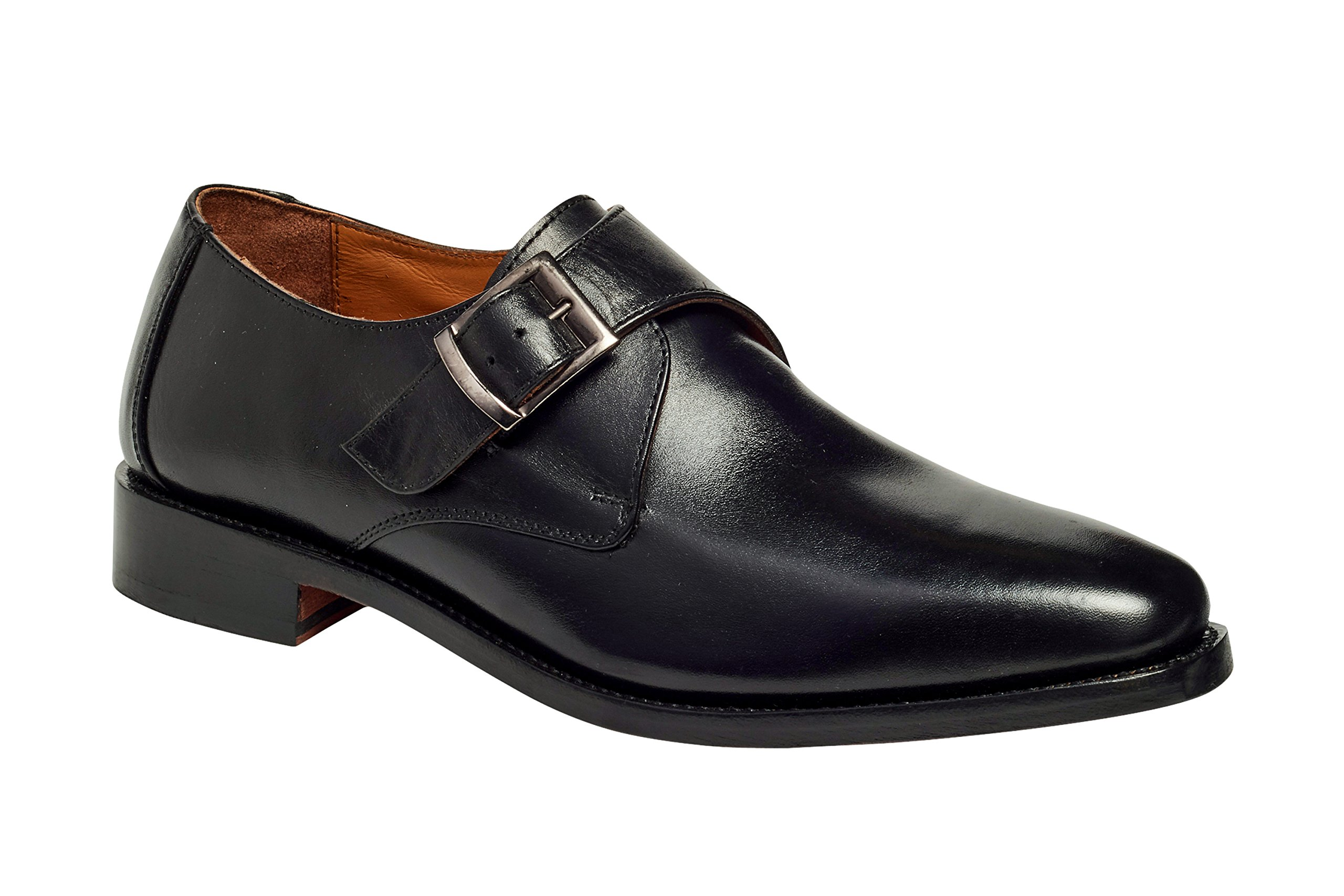 Anthony Veer Mens Roosevelt Oxford Single Monk Strap Leather Shoe In Goodyear Welted Construction … (10 D, Black)