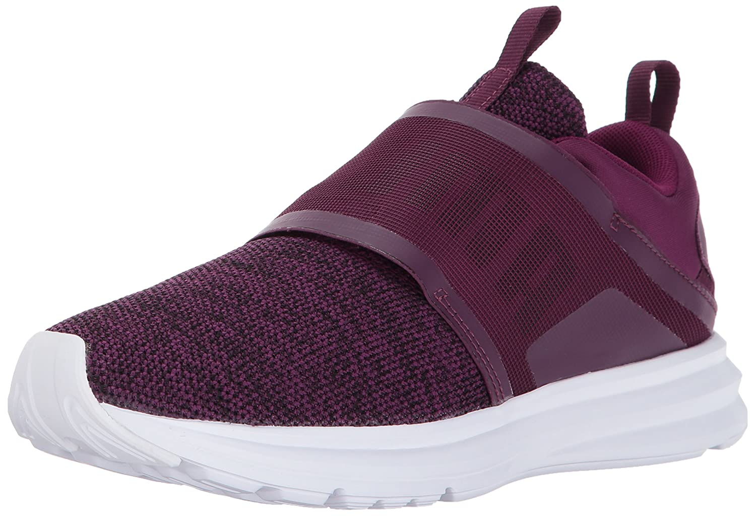 PUMA Women's Enzo Strap Knit Sneaker B01MSZZOKB 10.5 B(M) US|Dark Purple-puma Black