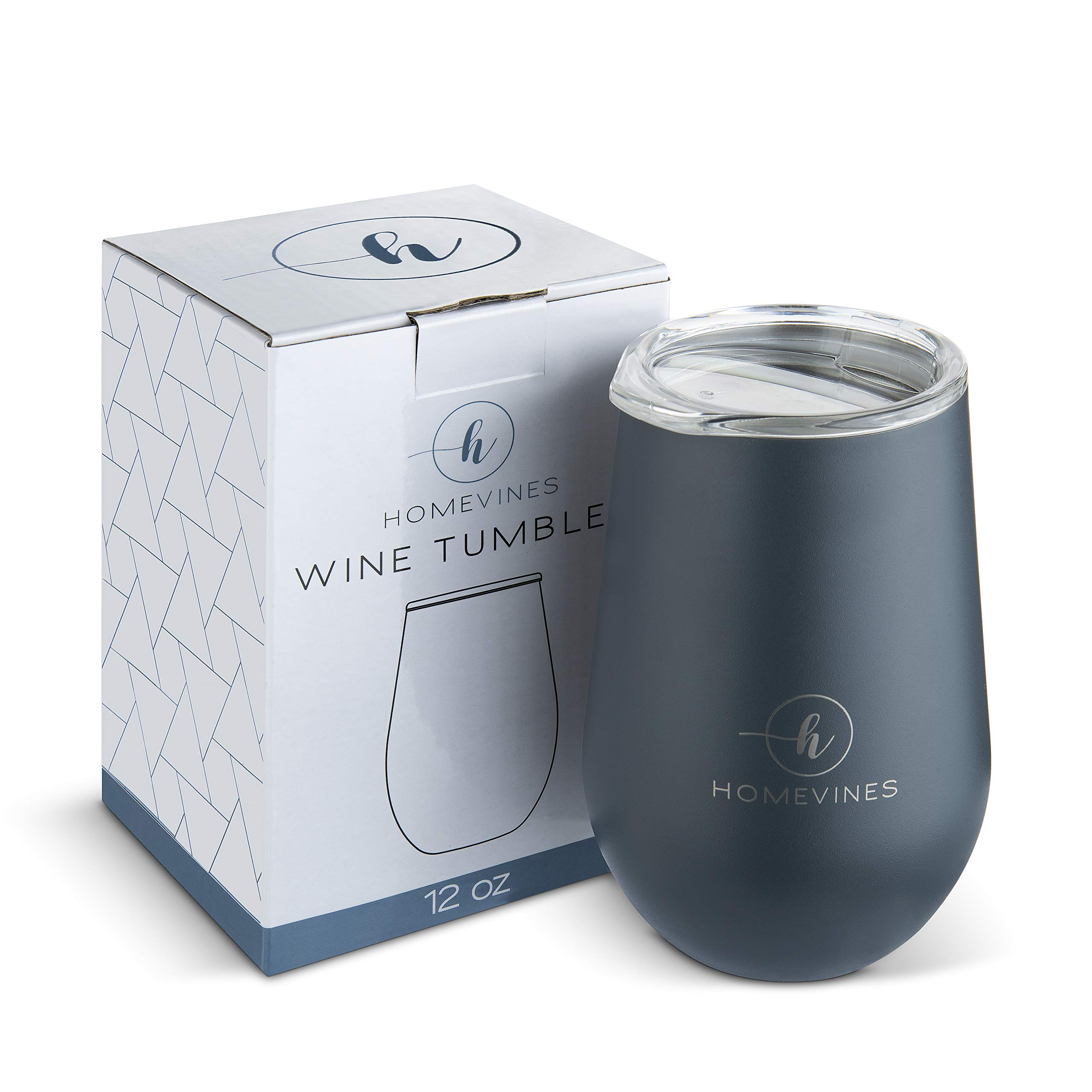 HomeVines Wine Tumbler With Lid - Insulated 12 oz Stainless Steel Wine Tumblers & Portable Stemless Glasses (Travel Adult Cups Perfect For Wine, Coffee, Drinks, Cocktails, Tea)