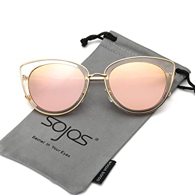 aa09dbe15b Amazon.com  SojoS Retro Fashion Cat Eye Women Sunglasses Metal Frame  Mirrored Lenses SJ1002 With Gold Frame Pink Mirrored Lens  Clothing
