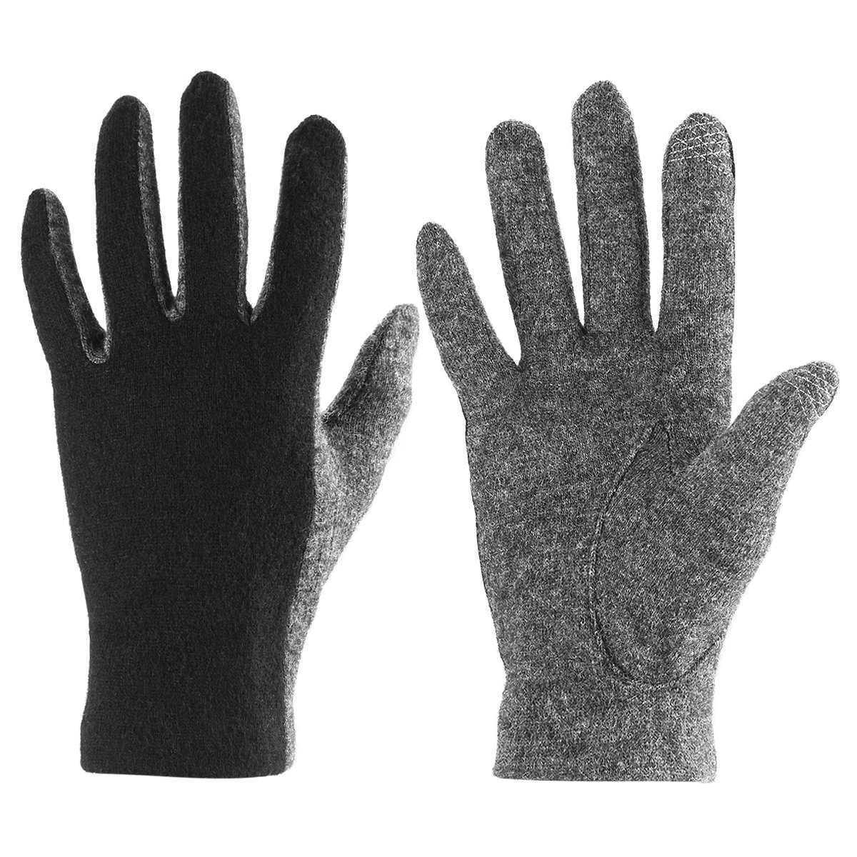 J & J Women Touchscreen Wool Gloves for Cold Weather Daily Commute Driving Walking Running Dog Walking (Black)