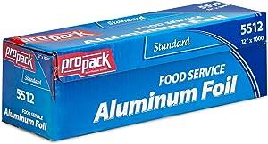 Propack Standard Food Service Aluminum Foil Roll 12'' Width x 1000' Length