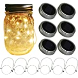 Solar Mason Jar Lids Lights,6-Pack Lid Lights and 6 Hangers Included(Jars Not Included), Solar Fairy Firefly Led Lights Lids Insert, Fit Regular Mouth Mason Jars for Patio Garden Decor Solar Laterns