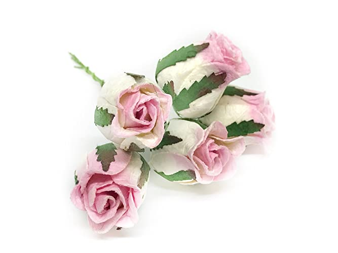 Amazon.com: 2.2x3cm White Pink Rose Buds Mulberry Paper Flowers with ...