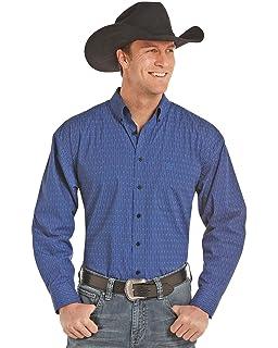 ea3976df Panhandle Men's Select Blue Peached Poplin Geo Print Long Sleeve Western  Shirt