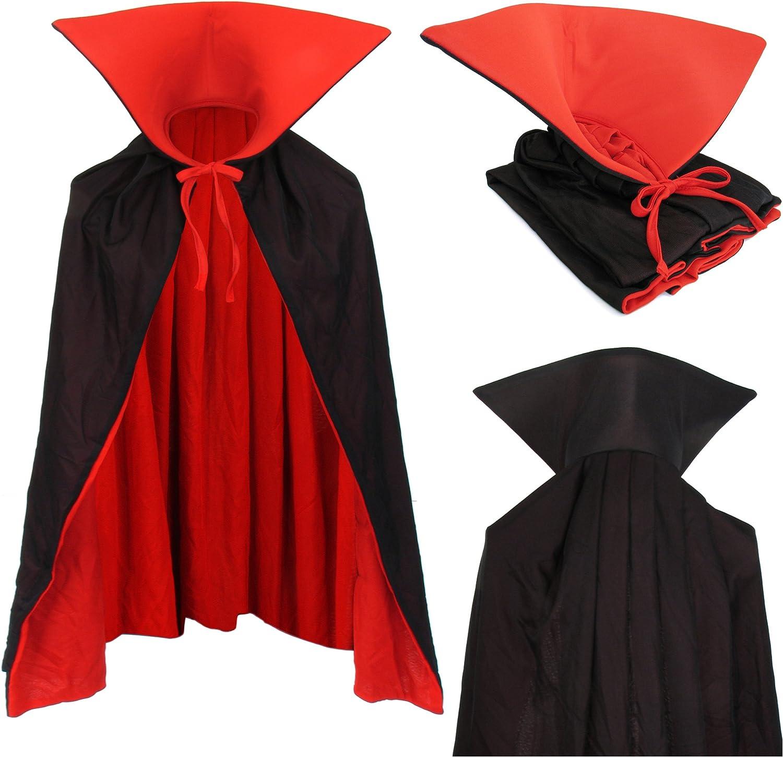 Vampiro Niños Cuello Capa Manto Negro Rojo