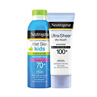 Neutrogena Ultra Sheer Dry-Touch Water Resistant and Non-Greasy Sunscreen Lotion with Ultra Sheer Wet Skin Bundle SPF 100+, 3 Fl Oz (Pack of 1)