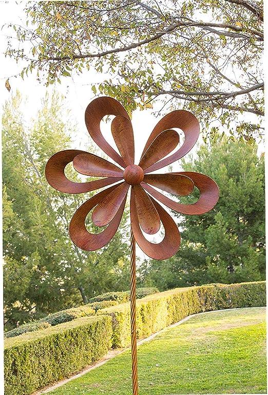 Estaca de Metal rústico para jardín al Aire Libre, diseño Floral, giratoria, para decoración de Patios al Aire Libre, Color Naranja Quemado, 24 x 8 x 96 Pulgadas: Amazon.es: Jardín