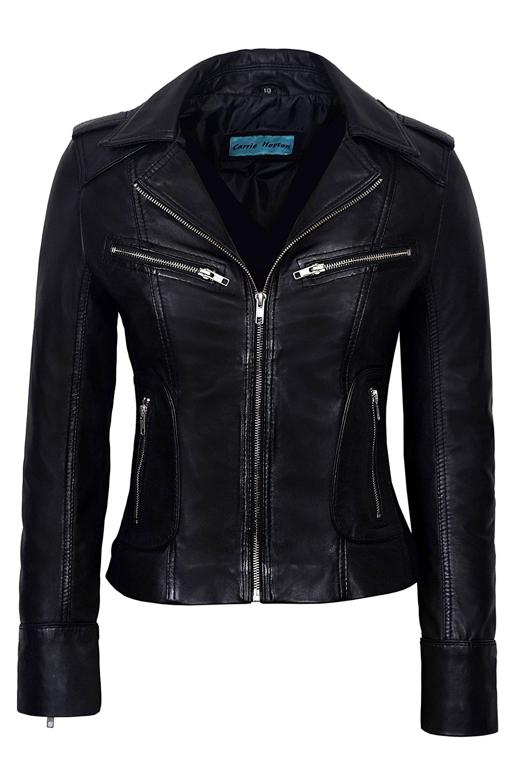 Rider Ladies Black Washed Biker Motorcycle Style Soft Real Nappa Leather Jacket (10, Black)