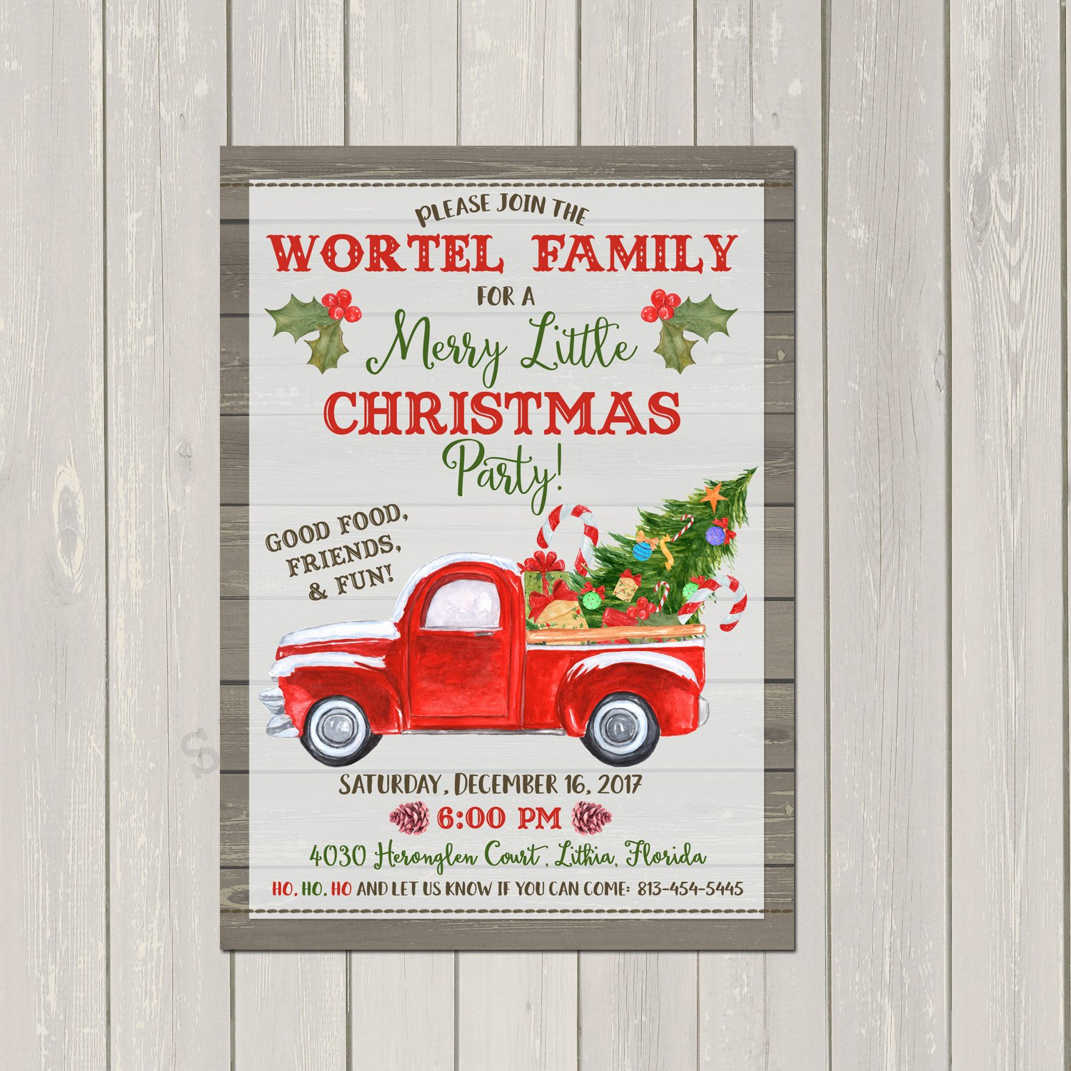 Rustic Red Truck Christmas Party Invitations, Red Truck Holiday Party Invitations, Base price is for Set of 10 5x7 card invitations with white envelopes