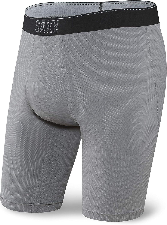 Dark Charcoal Saxx Men/'s Underwear Quest Boxer Briefs with Fly Size M L
